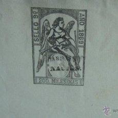 Sellos: HOJA DE PAPEL TIMBRADO AÑO 1869 SELLO 9º 200 MILÉSIMAS CON SOBRECARGA HABILITADO POR LA NACIÓN. Lote 41760927