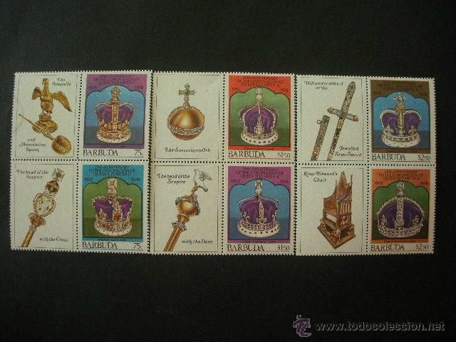 BARBUDA 1978 IVERT 390/5 *** 25º ANIVERSARIO CORONACIÓN DE LA REINA ISABEL II - MONARQUÍA (Sellos - Extranjero - América - Otros paises)