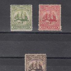 Sellos: TURKS & CAICOS 34/6 CON CHARNELA, BARCO, ESCUDO. Lote 43390648