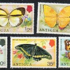 Sellos: ANTIGUA Y BARBUDA AÑO 1975 YV 379/85 MARIPOSAS Y FLORES - INSECTOS - FAUNA - FLORA. Lote 43685007