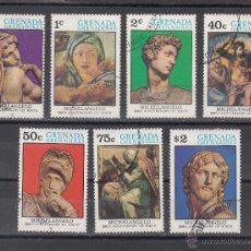 Sellos: GRENADA-GRENADINE 53/9 USADA, 500 ANIVERSARIO NACIMIENTO DE MIGUEL-ANGEL . Lote 43699570