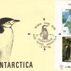 Sellos: ANTARTICA SOBRE PRIMER DIA PINGUINOS 1989 EXPEDICION GONDWANA HB SPD GREENPACE. Lote 43760381