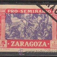 Sellos: VIÑETA PRO SEMINARIO DE ZARAGOZA DE 1945, USADO. Lote 43912612