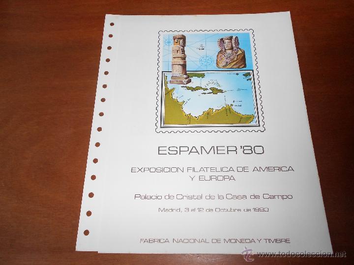 HOJA DOBLE ALBUM DOCUMENTO FILATÉLICO, TIRADA NUMERADA, ESPAMER 3/10/1980 (Sellos - Temáticas - Varias)