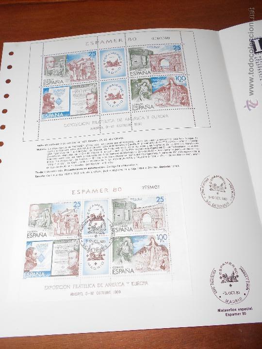 Sellos: HOJA DOBLE ALBUM DOCUMENTO FILATÉLICO, TIRADA NUMERADA, ESPAMER 3/10/1980 - Foto 2 - 44145937