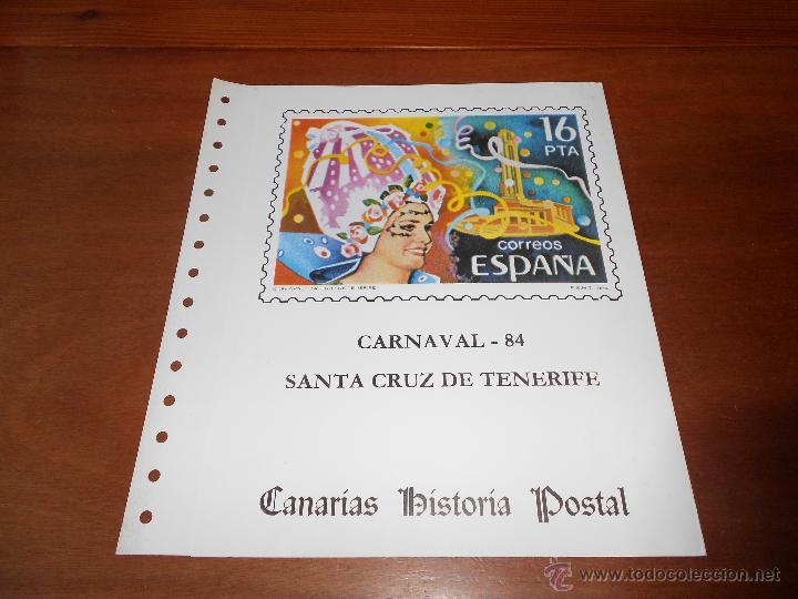 HOJA DOBLE ALBUM DOCUMENTO FILATÉLICO, TIRADA NUMERADA, CANARIAS, TENERIFE CARNAVAL 5/3/1984 (Sellos - Temáticas - Varias)