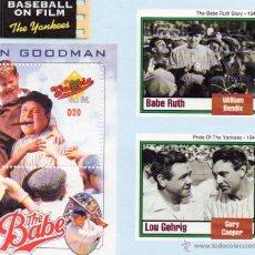 Sellos: GARY COOPER, WILLIAM BENDIX, JOHN GOODMAN, SELLOS DE GAMBIA, EL BEISBALL EN EL CINE. Lote 44193704