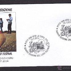 Timbres: ITALIA 2014. MATASELLO ESPECIAL. LUDO CUARTA EDICION DEL FESTIVAL. TROMPA PEONZA SAN VITO LO CAPO. Lote 44719043