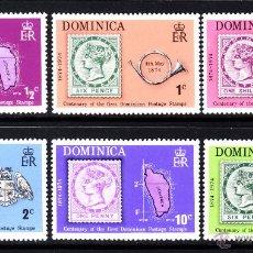 Sellos: DOMINICA 383/88** - AÑO 1974 - CENTENARIO DEL SELLO DE DOMINICA. Lote 45129870