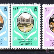 Sellos: DOMINICA 679/81** - AÑO 1981 - BODA DEL PRINCIPE CHARLES Y LADY DIANA SPENCER. Lote 45418418