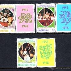 Sellos: DOMINICA 561/63** - AÑO 1978 - 25º ANIVERSARIO DE LA CORONACIÓN DE ISABEL II. Lote 46968153