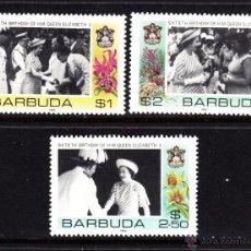 Sellos: BARBUDA 805/07** - AÑO 1986 - 60º ANIVERSARIO DE LA REINA ISABEL II. Lote 47294613