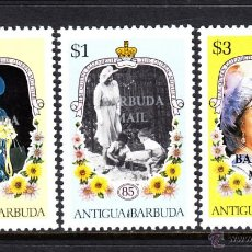 Sellos: BARBUDA 864/66** - AÑO 1986 - 85º ANIVERSARIO DE LA REINA MADRE. Lote 47294617