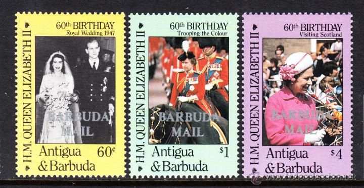 BARBUDA 814/16** - AÑO 1986 - 60º ANIVERSARIO DE LA REINA ISABEL II (Sellos - Extranjero - América - Otros paises)