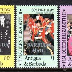 Sellos: BARBUDA 814/16** - AÑO 1986 - 60º ANIVERSARIO DE LA REINA ISABEL II. Lote 47565811