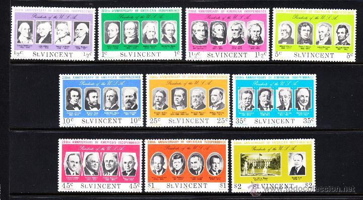 SAN VICENTE 414/23** - AÑO 1975 - BICENTENARIO DE LA INDEPENDENCIA DE ESTADOS UNIDOS - PRESIDENTES (Sellos - Extranjero - América - Otros paises)