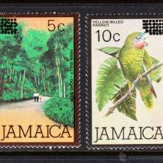 Sellos: JAMAICA 602/03** - AÑO 1984 - FAUNA - AVES - LOROS - PAISAJES. Lote 48986955