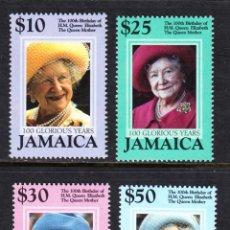 Sellos: JAMAICA 974/77** - AÑO 2000 - CENTENARIO DE LA REINA MADRE. Lote 49189117