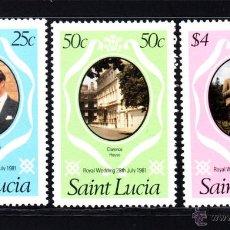 Sellos: SANTA LUCIA 530/32** - AÑO 1981 - BODA DEL PRINCIPE CHARLES Y LADY DIANA SPENCER. Lote 49645308