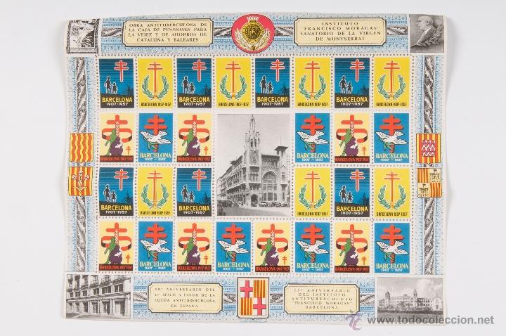 HOJA SELLOS OBRA ANTITUBERCULOSA INSTITUTO FRANCISCO MORAGAS 1907-1957 (Sellos - Temáticas - Varias)