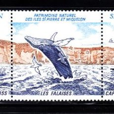 Sellos: SAN PIERRE 495A** - AÑO 1988 - FAUNA - AVES - ANIMALES MARINOS - PATRIMONIO NATURAL. Lote 50813223