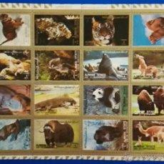 Sellos: HOJA BLOQUE SELLOS DE AJMÁN, ANIMALES. Lote 51819200
