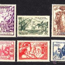 Sellos: SAN PIERRE 160/65** - AÑO 1937 - EXPOSICION INTERNACIONAL DE PARIS - BARCOS. Lote 116403686