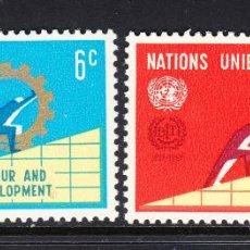 Sellos: NACIONES UNIDAS NEW YORK 193/94** - AÑO 1969 - 50º ANIV. DE ORGANIZACIÓN INTERNACIONAL DEL TRABAJO. Lote 174693714