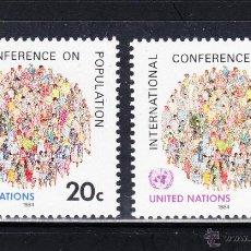 Sellos: NACIONES UNIDAS NEW YORK 408/09** - AÑO 1984 - CONFERENCIA INTERNACIONAL DE POBLACION. Lote 147660149