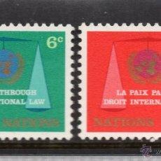 Sellos: NACIONES UNIDAS NEW YORK 191/92** - AÑO 1969 - 20º ANIV. DE LA COMISIÓN DE DERECHO INTERNACIONAL. Lote 173100132