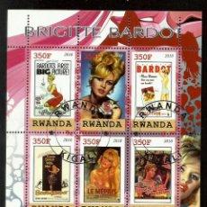 Sellos: RUANDA 2010 HOJA BLOQUE CARTELES PELICULAS DE LA FAMOSA ACTRIZ BRIGITTE BARDOT - CINE . Lote 54670369