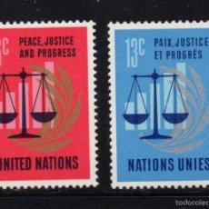 Sellos: NACIONES UNIDAS NEW YORK 206/07** - AÑO 1970 - 25º ANIVERSARIO DE NACIONES UNIDAS. Lote 56112181