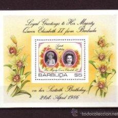 Sellos: BARBUDA 1986 HB IVERT 99 *** 60º ANIVERSARIO DE LA REINA ISABEL II. Lote 56257416