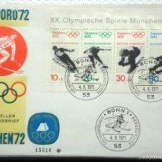 Sellos: ALEMANIA 1972 SOBRE PRIMER DIA CIRCULACION- OLIMPIADAS MUNICH 72- JUEGOS OLIMPICOS SAPPORO 72- FDC . Lote 59840648