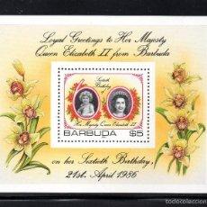 Sellos: BARBUDA HB 99** - AÑO 1986 - 60º ANIVERSARIO DE LA REINA ISABEL II. Lote 61042651