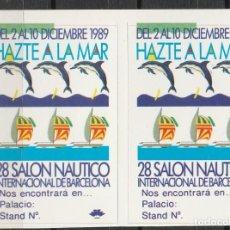 Sellos: BARCELONA 1989 . ,28º SALON NAUTICO INTERNACIONAL DE BARCELONA.'. PAREJA VIÑETAS **. MNH. Lote 61975500