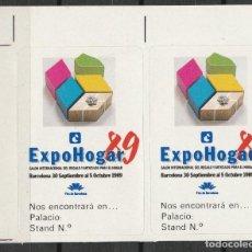 Sellos: BARCELONA 1989. EXPO HOGAR 89'. PAREJA VIÑETAS **. MNH. Lote 61975780