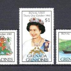 Sellos: GRANADA GRANADINAS 616/18** - AÑO 1985 - BARCOS - VISITA DE LA REINA ISABEL II. Lote 64644623