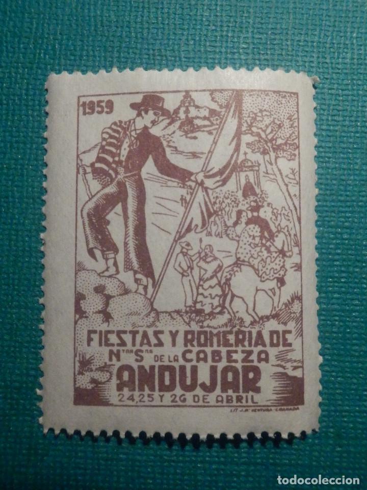 SELLO - VIÑETA - FIESTAS Y ROMERÍA DE NUESTRA SEÑORA DE LA CABEZA - ANDUJAR - 1959 - NUEVO (Sellos - Temáticas - Varias)