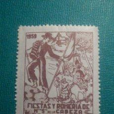 Sellos: SELLO - VIÑETA - FIESTAS Y ROMERÍA DE NUESTRA SEÑORA DE LA CABEZA - ANDUJAR - 1959 - NUEVO. Lote 68239365