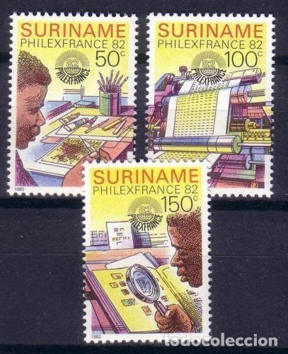 SURINAM 1982 IVERT 856/8 *** EXPOSICIÓN FILATÉLICA INTERNACIONAL - PHILEXFRANCE-82 - EL SELLO (Sellos - Extranjero - América - Otros paises)