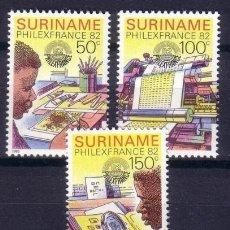 Sellos: SURINAM 1982 IVERT 856/8 *** EXPOSICIÓN FILATÉLICA INTERNACIONAL - PHILEXFRANCE-82 - EL SELLO. Lote 68552473