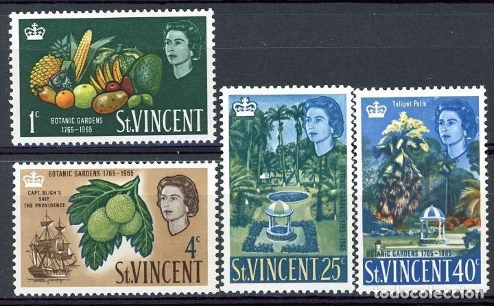 SAN VICENTE 1965 IVERT 201/4 * 2º CENTENARIO DEL JARDIN BOTÁNICO DE KINGSTOWN - FLORA (Sellos - Extranjero - América - Otros paises)