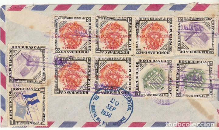 Sellos: HONDURAS :TRINIDAD DE SANTA BARBARA a BARCELONA. 1956. - Foto 2 - 80075033