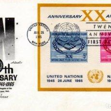 Sellos: NACIONES UNIDAS: 20 ANIVERSARIO, SAN FRANCISCO 1965. BONITO Y RARO SOBRE PRIMER DIA.. Lote 81686648