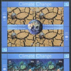 Sellos: NACIONES UNIDAS (SEDE NEW YORK) - CAMBIO CLIMATICO - 2 HB (2008) **. Lote 84746748