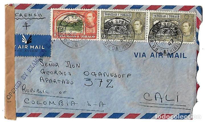 TRINIDAD Y TOBAGO 1942. CARTA VOLADA CON MARCAS DE CENSURA Y LA CRUZ DE LORENA (Sellos - Extranjero - América - Otros paises)
