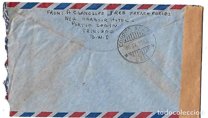 Sellos: TRINIDAD Y TOBAGO 1942. CARTA VOLADA CON MARCAS DE CENSURA Y LA CRUZ DE LORENA - Foto 2 - 86444652