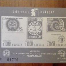 Sellos: URUGUAY 1974 NUEVO HOJA BLOQUE CORREO AÉREO SIN DENTAR. Lote 88900576