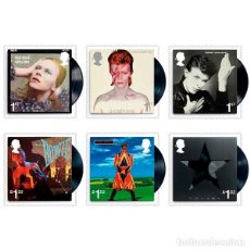 Sellos: LOTE 6 SELLOS DAVID BOWIE DISCOS NUEVO 2017 DAVID BOWIE STAMP SET OF SIX MINT. Lote 88988516
